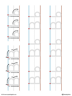 Uppercase and Lowercase Letter B Printable Writing Mat (Color)