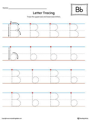 Letter B uppercase and lowercase writing practice printable worksheet.