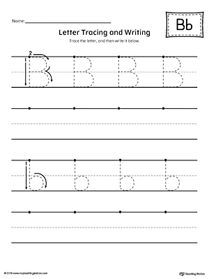 Letter B Tracing and Writing Printable Worksheet
