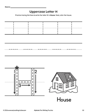 Uppercase Letter H Pre-Writing Practice Worksheet