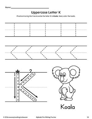 uppercase letter k pre writing practice worksheet. Black Bedroom Furniture Sets. Home Design Ideas