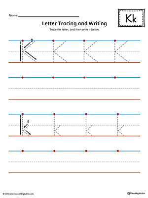 Letter K Tracing And Writing Printable Worksheet Color