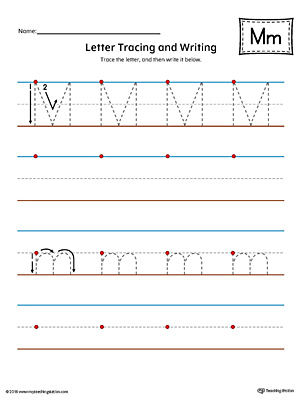 Letter M Tracing and Writing Printable Worksheet is perfect for students in preschool or kindergarten to practice writing.