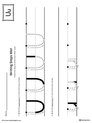 Letter-U-Writing-Steps-Mat-Printable Direction Worksheet For Kindergarten on missing vowel, winter math, printable vowel, my house, sight word now, spring addition, fun phonics, printable reading, long vowel, free adjective,