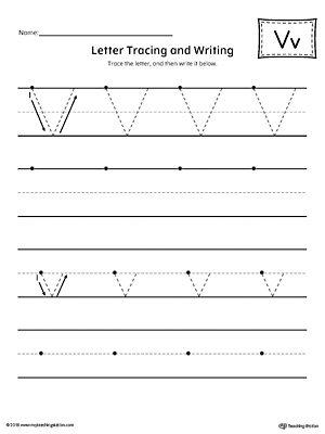 Letter V Tracing and Writing Printable Worksheet