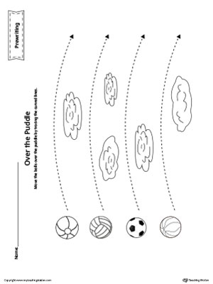 Balls Curved Line Tracing Prewriting Worksheet