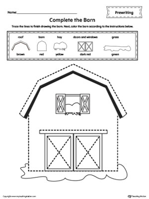 Barn Line Tracing Prewriting Worksheet