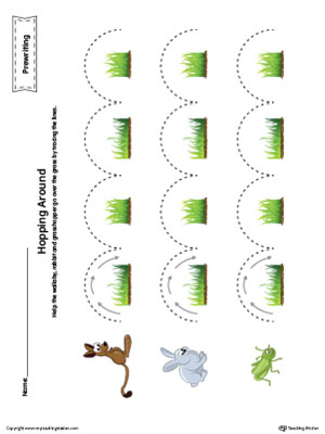 Hopping Curved Line Tracing Prewriting Worksheet In Color