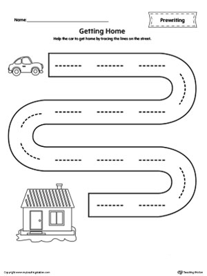 Street Line Tracing Prewriting Worksheet