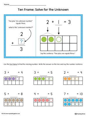 Ten Frame: Solve for the Unknown Printable Worksheet (Color)
